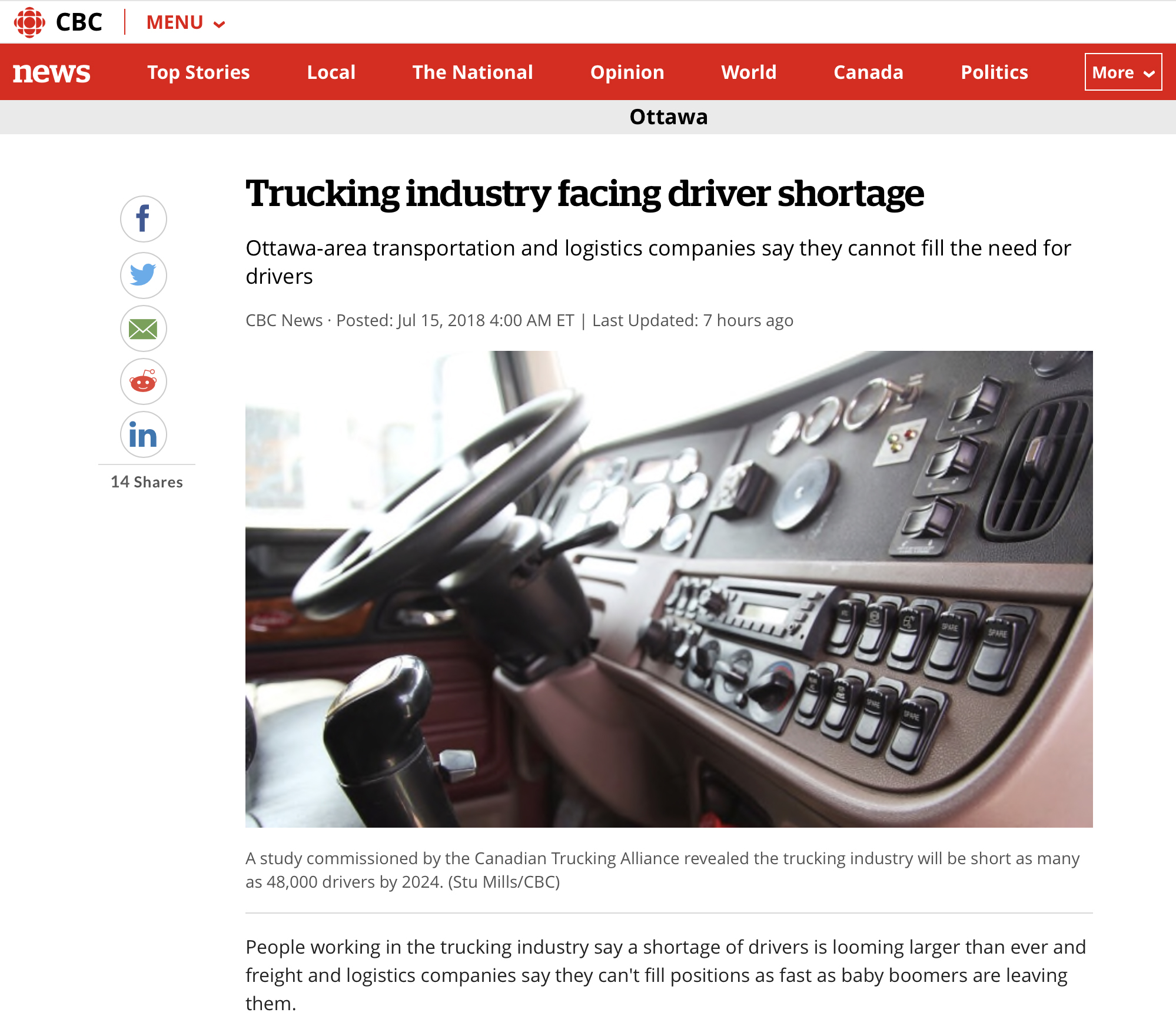 CBC News: Trucking industry facing driver shortage