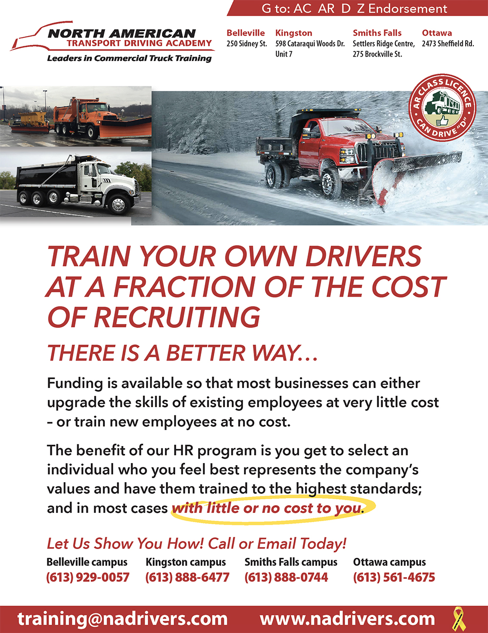 Train your own drivers at a fraction of the cost of recruiting